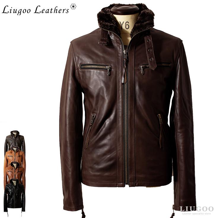 Liugoo Leathers 本革 ウィングネックシングルライダースジャケット メンズ リューグーレザーズ WNG14A レザージャケット 革ジャン 本革ジャケット ブルゾン ジャンパー アウター オリジナルYKK使用 ライディングジャケット バイクウェア