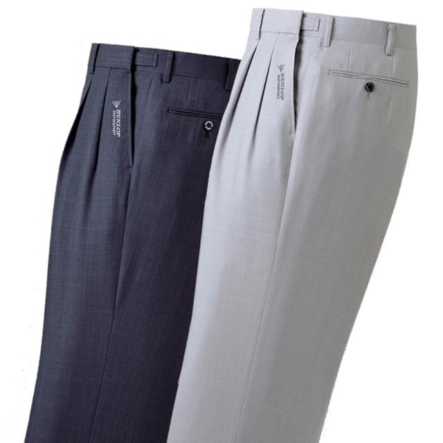 吸水速乾 スラックス メンズ 2色セット 上品な杢調 ダンロップ モータースポーツ 裾上げ済み アジャスター付き スラックス ビジネス パンツ オフィス ズボン ネイビー グレー 洗える