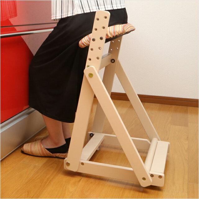 代金引換不可 天然木 キッチンチェア 折りたたみ 木製 中居木工 キッチンチェアー 横移動 キャスター 立ち仕事サポート キッチン 椅子 いす 台所 おしゃれ