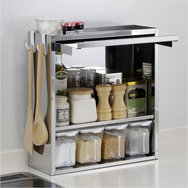 スパイスラック ステンレス 4杯 調味料ラック スリム 日本製 ステンレス製 おしゃれ 調味料 収納 キッチン収納 調味料入れ