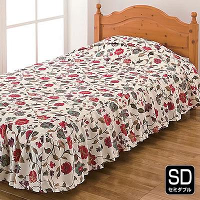 ベッドカバー セミダブル 花柄 フリル ベッドスプレッド かわいい おしゃれ ベッド 寝室 インテリア 高級感 北欧 ベッドメイキング