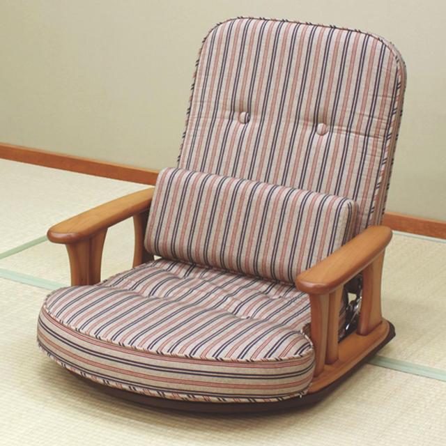 代金引換不可 日本製 木肘付き 回転座椅子 リクライニング 座椅子 回転 中居木工 あぐらもかける ゆったり座椅子 クッション付き 和室 一人掛け 回転チェア