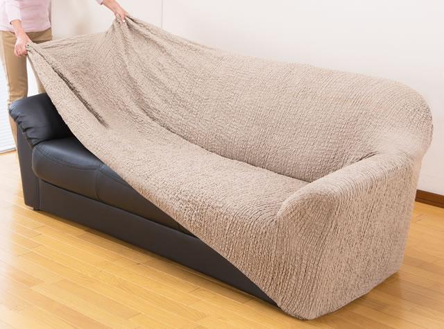 ソファーカバー 2人掛 肘付き タテヨコ伸縮 ストレッチ素材 ベージュ ブラウン グリーン