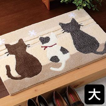 ふかふか玄関マット 猫 大 55×85cm 洗える ウォッシャブル 玄関マット 猫 玄関 マット ネコ ラグ かわいい おしゃれ