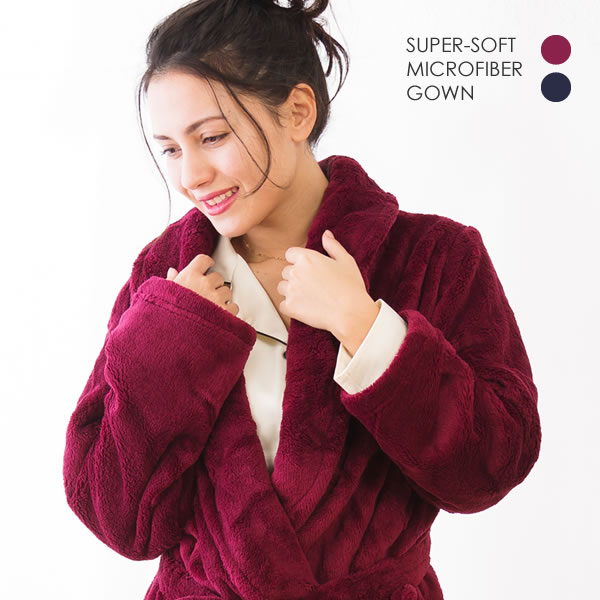 軽くて暖かくて着やすいスーパーソフトガウン!! 暖かルームガウン スーパーソフト マイクロファイバー レディース メンズ ポケット付き ルームウェア ガウン