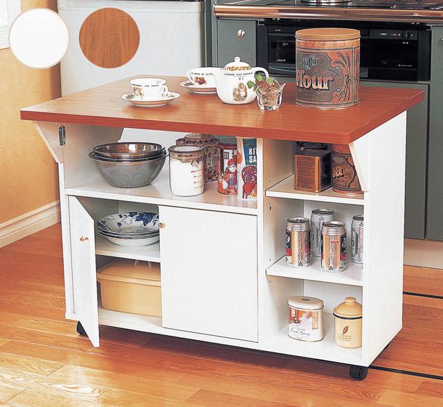 代金引換不可 木製両バタ カウンターワゴン キッチン 対面カウンター 幅90 下収納 作業台 間仕切り バタフライテーブル 調理台