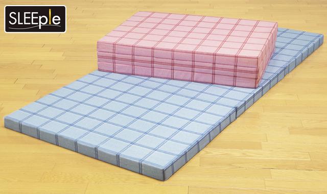 スリープル 腰を支える 3つ折れ 格子柄 バランス マットレス ダブル ブルー ピンク