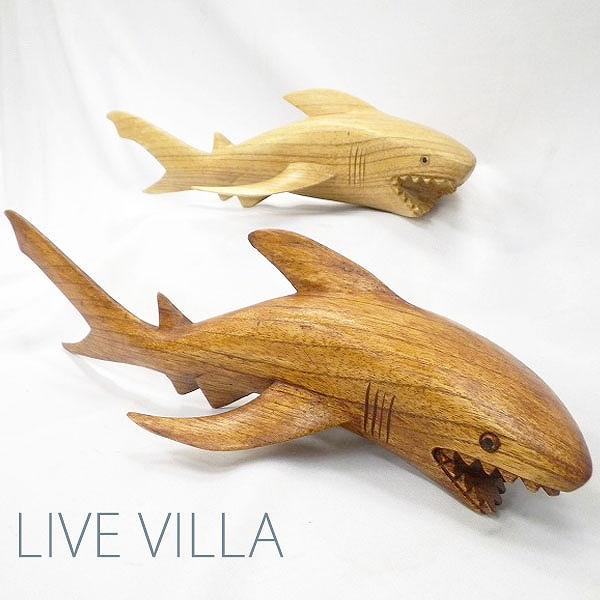 マリン雑貨 日本正規代理店品 マリンインテリア 木彫り サメ 鮫 シャーク 木 海 ウッド 釣り ジョーズ サメL 爆安 置き物
