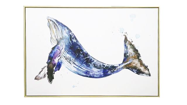 【マリンアート】インテリア魚絵画 クジラ(同梱不可商品)