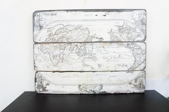 【マリン雑貨】世界地図のウッドレリーフオブジェ(同梱不可商品)