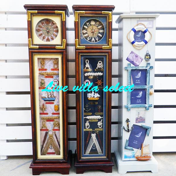 【マリンインテリア】ロープワークのインテリア家具マリン時計棚 ホワイト(同梱不可商品)