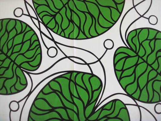 【マリメッコ  BOTTNA  ボットナ グリーン・ホワイト 】マリメッコ生地1巾2メーターカット販売