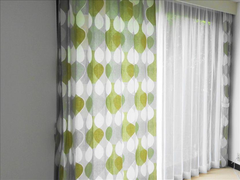 カーテン北欧borasボラスMALAGAマラガライトグリーンオーダーカーテン幅140cm高さ80から125cm