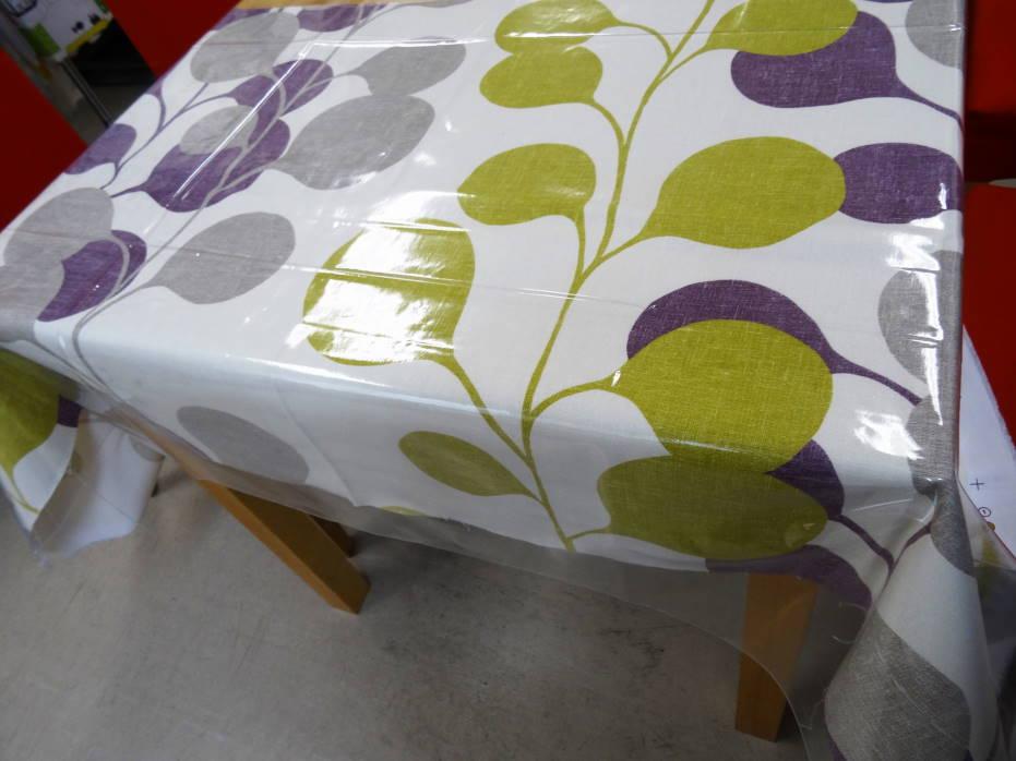 人気の生地テーブルクロス ハーレクイン ポッド パープル(撥水の透明ビニールクロスがセットになってお手軽)