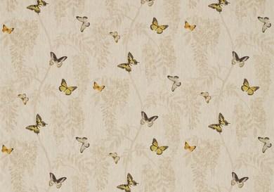 サンダーソンSanderson生地 バタフライ柄Sanderson Woodland Walk - Wisteria & Butterfly - Linen/Citrus 225528 1巾約138cm縦約1メーター単位カット販売