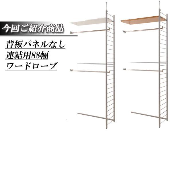 【送料無料】突っ張り壁面間仕切りワードローブ幅88cm 連結用 背板無しタイプ【P10】
