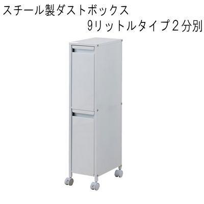 【送料無料】スチール製ダストボックス 9リットルタイプ2分別 【P10】