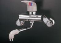ミズタニバルブ シングルレバー水栓 MK300BK 壁付混合水栓 樹脂ハンドル キッチン用水栓金具