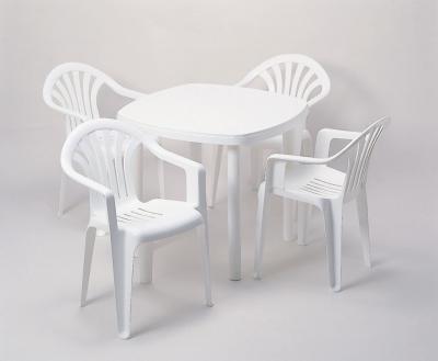 ガーデンテーブル 840型+ガーデンチェア 白 5点セット