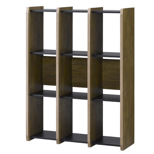 本棚 ブックシェルフ 3列3段 古木風 アルティファ 約幅88cm ( 送料無料 オープンラック ラック シェルフ A4 アンティーク風 木目 ヴィンテージ風 木製 3段 ディスプレイラック 収納 )