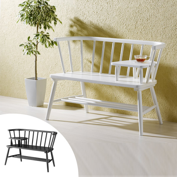 カフェベンチ 木製 ウィンザー調 ミニテーブル付 完成品 ビアンフェール 約幅100cm ( 送料無料 ベンチ ダイニングベンチ シンプル モノクロ カフェ おしゃれ 椅子 チェア ベランダ エントランス ウィンザーチェア )