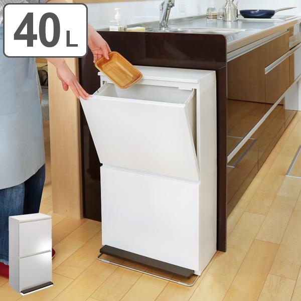 フラップダウン 金属製 ごみ箱 キッチン おしゃれ ゴミ箱 スリム 2分別薄型ダストボックス ペール付き ホワイト スチール 薄型 くず入れ 白 大型 20L×2 BOX