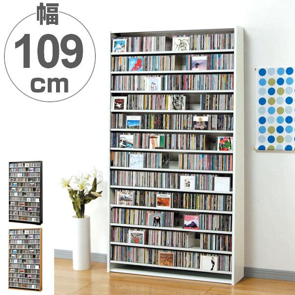 CDラック 12段 大量収納ストッカー 幅109cm ( 送料無料 ラック 棚 収納 ディスプレイラック 壁面収納 スリム 大容量 木製 CD CD収納 DVD 薄型 本棚 書棚 )