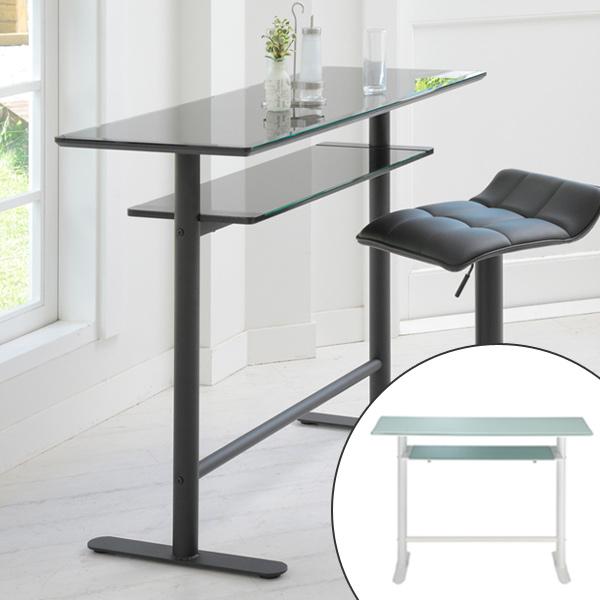 送料無料 机 テーブル ハイテーブル ディスプレイ ガラステーブル ) ロイス カウンターテーブル 花台 飾り台 収納 電話台 つくえ コンソール カウンター リビング ( ガラス天板