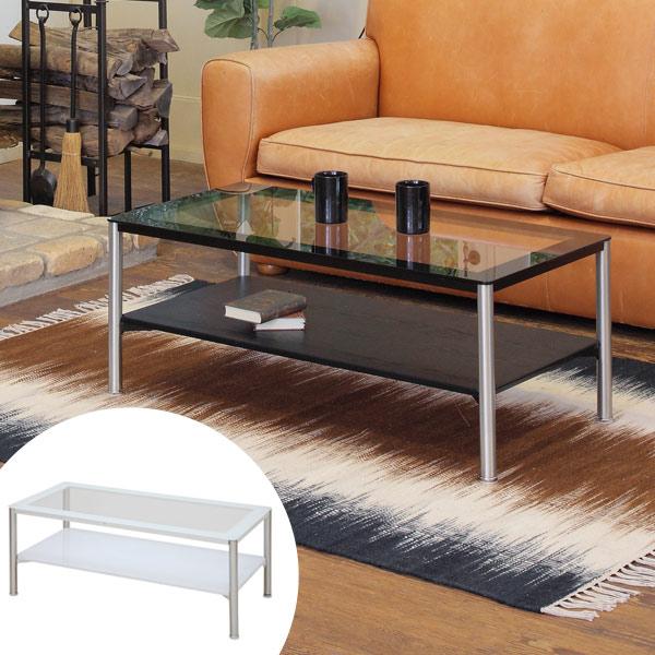 テーブル リビングテーブル COOL ( 送料無料 ガラステーブル センターテーブル ローテーブル コーヒーテーブル 机 つくえ 収納 サイドテーブル 棚付き ラック付き リビング )