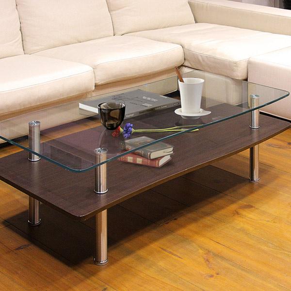 テーブル リビングテーブル 幅110cm WAVE  ( 送料無料 ガラステーブル センターテーブル ローテーブル コーヒーテーブル 机 つくえ 収納 サイドテーブル 棚付き ラック付き リビング )