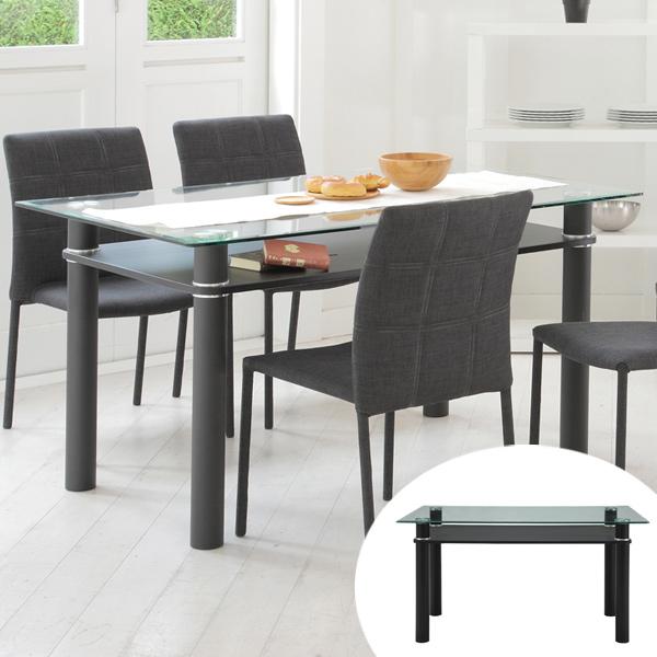 テーブル ダイニングテーブル 幅140cm LUCID ( 送料無料 机 食卓 4人掛け リビングテーブル デスク ガラステーブル ガラストップ ガラス天板 食卓テーブル 4人用 四人用 食卓 ダイニング 収納 )