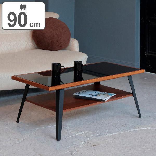 リビングテーブル CADRE 幅90cm 天然木 テーブル ( 送料無料 センターテーブル リビングテーブル ローテーブル ナイトテーブル カフェ コーヒー テーブル 棚 付き 座卓 台 机 木製 幅 90 高さ 40 センチ )