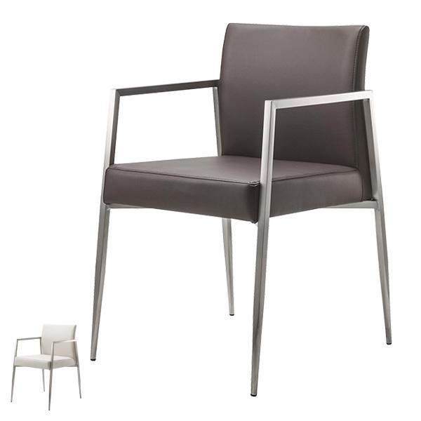 チェア 座面高47cm オフィス 椅子 イス ソフトレザー ステンレス ( 送料無料 いす ダイニングチェア オフィスチェア ミーティングチェア リビングチェア デザインチェア 肘付き 食卓椅子 会議イス ダイニング 食卓 打合せ おしゃれ )