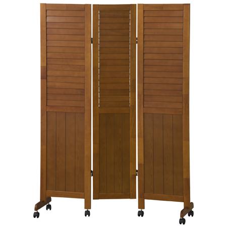 ルーバー式スクリーン 3連 天然木製フレーム キャスター付 高さ160cm ( 送料無料 パーテーション 間仕切り パーティション 衝立 つい立て 洋風 おしゃれ 部屋 仕切り ナチュラル カントリー)