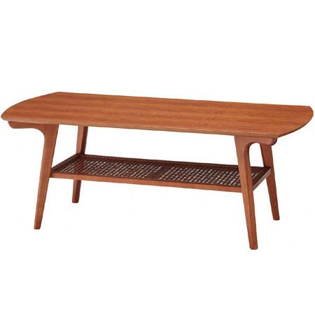 コーヒーテーブル ノルディナ 天然木 棚付 幅105cm ( 送料無料 センターテーブル ローテーブル リビングテーブル ナチュラル 机 座卓 )
