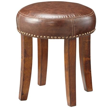 スツール 椅子 ボンデッドレザー 座面高40cm ( 送料無料 チェアー 背もたれなし 鋲打ち クラシック アンティーク ブラウン )