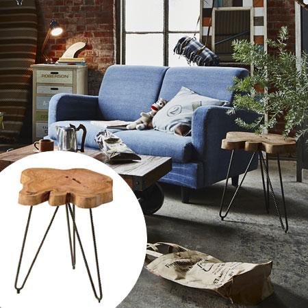 サイドテーブル ムク 無垢材 単板 幅約40cm ( 送料無料 天然木製 カントリー風 ナイトテーブル 花台 コーヒーテーブル )