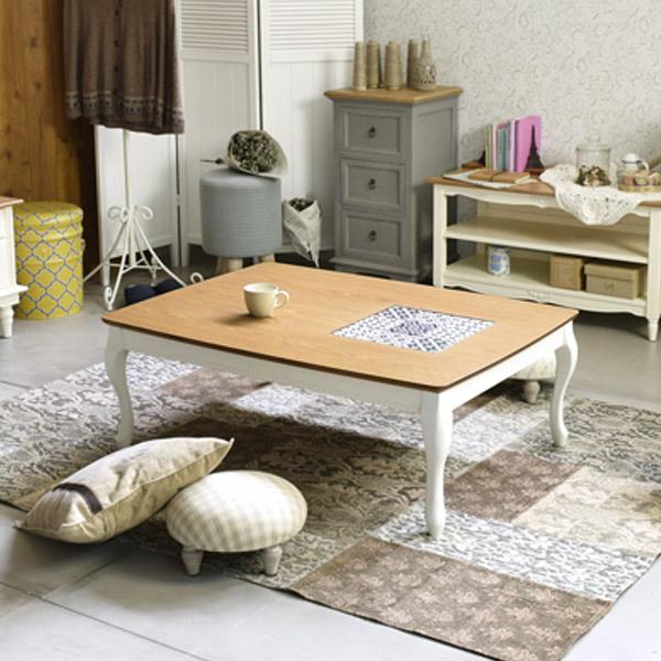 こたつテーブル アリス 長方形 猫足 姫系 105cm ( 送料無料 コタツ センターテーブル 炬燵 木製 ローテーブル デスク フレンチカントリー )