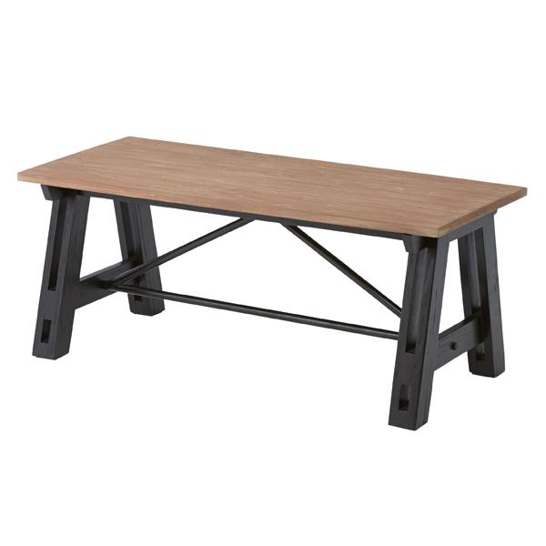 コーヒーテーブル 天然木 Isaac 幅100cm ( 送料無料 テーブル ローテーブル カフェテーブル 机 木製 ダイニングテーブル センターテーブル 木製 スチール アンティーク風 レトロ カフェ風 おしゃれ 屋外 ガーデン ガーデンファニチャー 幅1m )