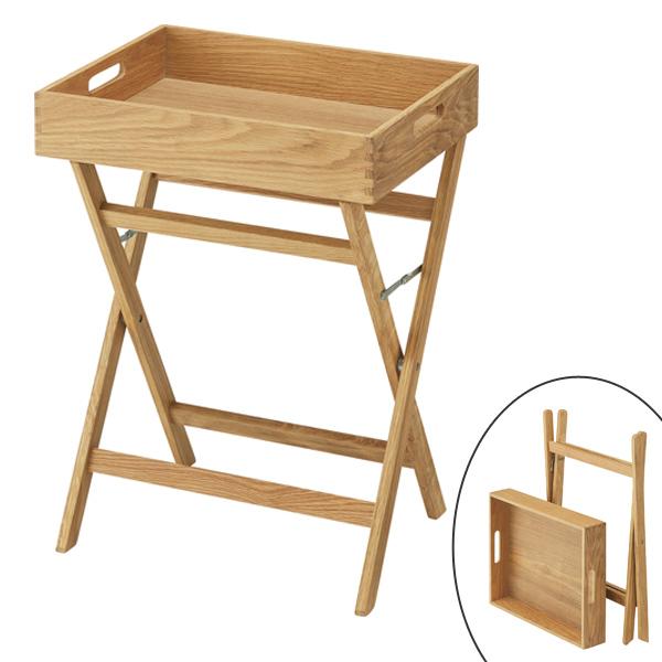 Side Table Folding Tray Type Top Plate Tree Oak 44cm In Width (shelf Rack  Folding ...