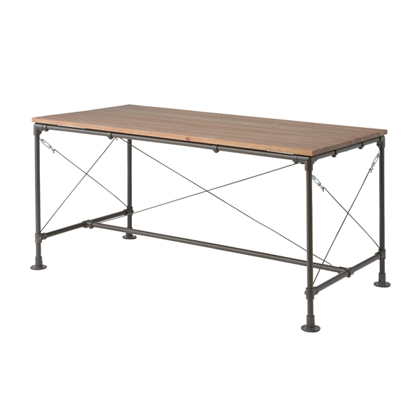 ダイニングテーブル スチールフレーム 天然木天板 幅154cm ( 送料無料 テーブル 机 つくえ リビングテーブル ダイニング リビング アイアンフレーム スチール製脚 木製天板 クール スタイリッシュ ガーデン 屋外 室内 おしゃれ )