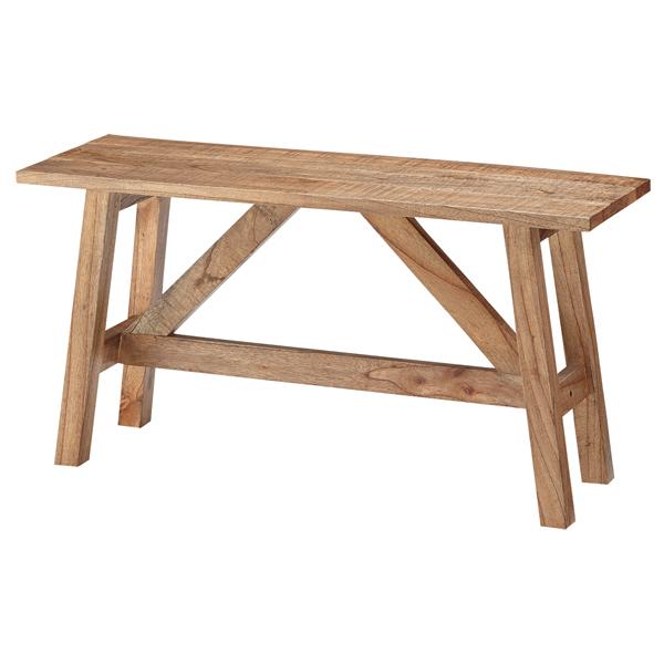 ベンチ Saran 天然木 幅90cm ( 送料無料 長椅子 椅子 イス いす チェア 完成品 ナチュラル カントリー調 重厚感 無骨 背もたれなし ガーデン ガーデンファニチャー )