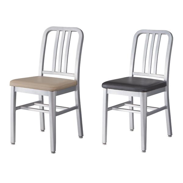 ダイニングチェア 椅子 アルミフレーム バーグ 座面高48cm ( 送料無料 チェアー ミッドセンチュリー リプロダクト チェア イス ダイニングチェアー 合成皮革 ソフトレザー レザー風 アルミ製 異素材 おしゃれ レトロ )