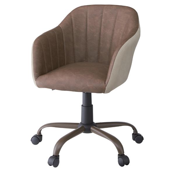 デスクチェア アームチェア ソフトレザー キャスター付き 座面高46~53cm  ( 送料無料 椅子 チェア チェアー イス いす パソコンチェアー デスクチェアー オフィスチェア パソコンチェア 合成皮革 シック )