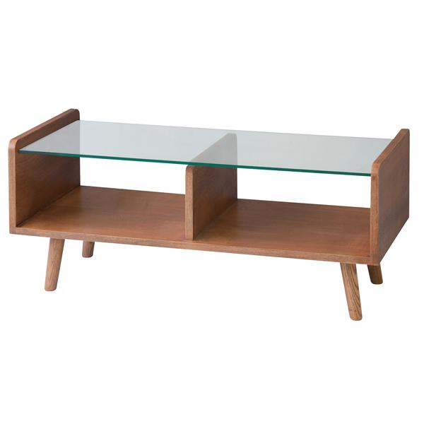 センターテーブル ローテーブル ガラス天板 フレック 天然木 アッシュ材 幅120cm ( 送料無料 テーブル 机 つくえ ガラス製 木製 カフェテーブル 収納スペース付き かわいい おしゃれ ディスプレイテーブル )