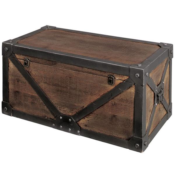 トランク レトロ調 宝箱 天然木 Troll 幅82cm Lサイズ ( 送料無料 収納ケース 収納ボックス 木製 ヴィンテージ インダストリー ミッドセンチュリー )