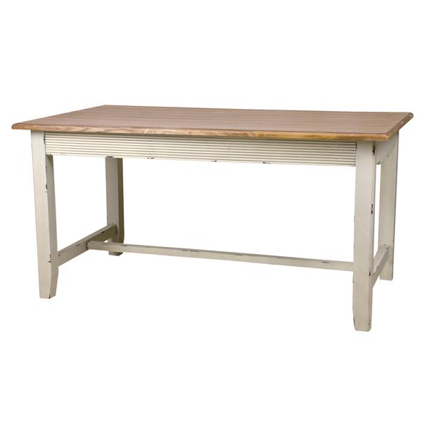 ダイニングテーブル 天然木 Blossom 幅145cm ( 送料無料 テーブル 食卓 リビングテーブル 木製 シャビー風 シャビーシック ダイニング フレンチアンティーク風 フレンチカントリー風 バイカラー )