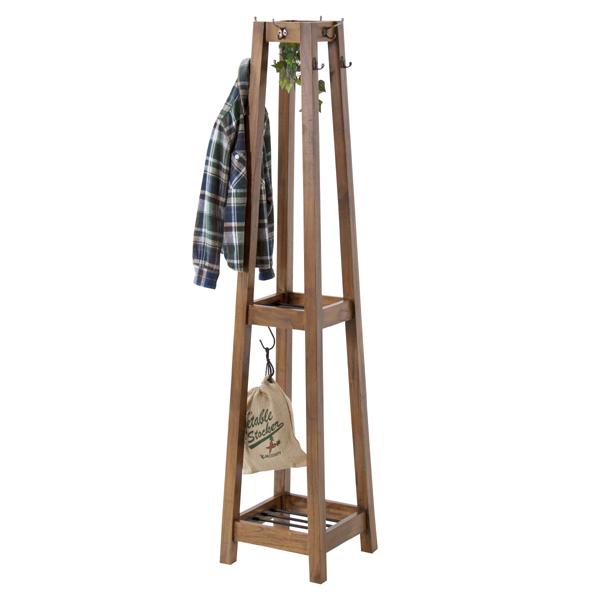 ハンガーラック 天然木 レトロ調 Timber 高さ162cm ( 送料無料 ハンガー ラック 洋服掛け S字フック フック付き ハンガー掛け 帽子掛け カバン掛け 小物掛け 玄関収納 棚付き 木製 )