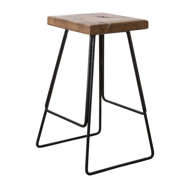 スツール ハイタイプ アイアンフレーム ( 送料無料 木製 アイアン脚 スツール(背もたれなし) カウンター バー イス 椅子 いす 天然木 チーク チーク材 無垢材 オイル仕上げ )