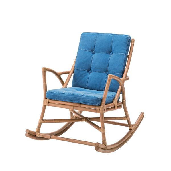 ロッキングチェア ラタン製 椅子 デニム生地 幅62cm ( 送料無料 チェア イス デニム 一人掛け おしゃれ ラタン 一人用チェア 籐 ナチュラル リラックスチェア )